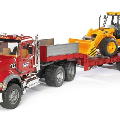 MACK granite Low Loader Truck w JCB